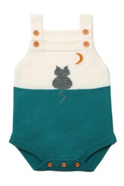 绿色月亮下的猫棉针织婴儿紧身衣裤