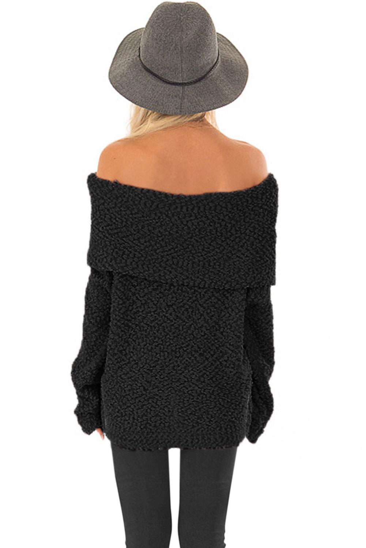 黑色露肩舒适毛衣 LC27992
