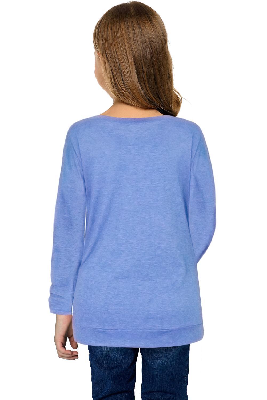 天蓝色圆领小女孩长袖侧纽扣细节舒适上衣 TZ25122