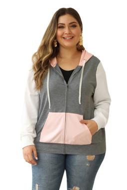 粉色袋鼠口袋拼色连帽拉链大码夹克