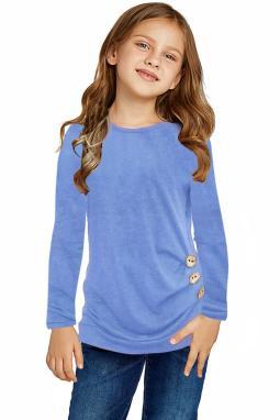 天蓝色圆领小女孩长袖侧纽扣细节舒适上衣
