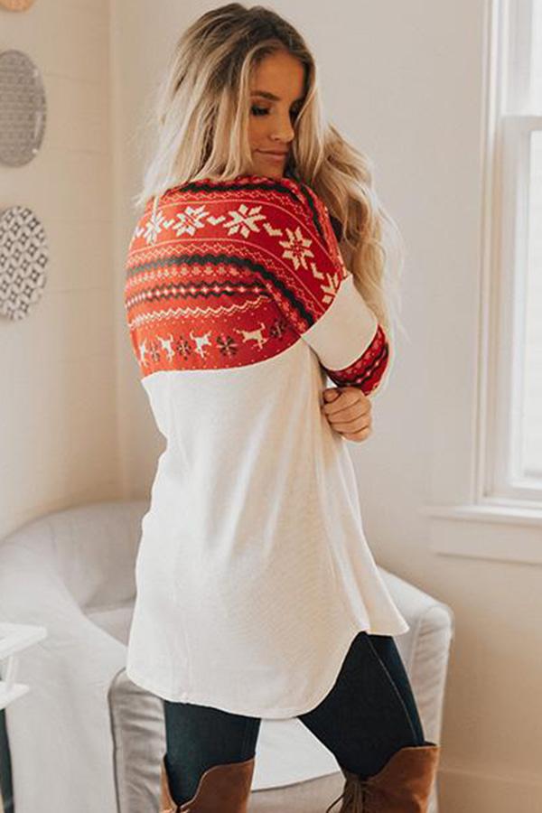 红色时尚圣诞元素圆领长袖上衣 LC252598