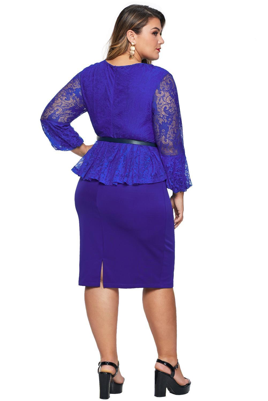 蓝色蕾丝荷叶摆加大码连衣裙配腰带 LC220822