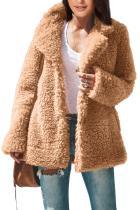 棕色翻领侧袋夏尔巴风格秋冬毛绒外套