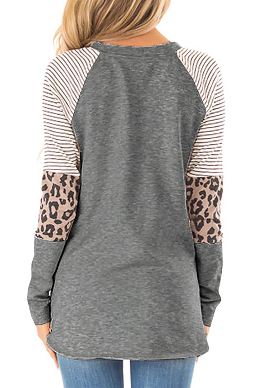 灰色条纹豹纹拼接长袖圆领上衣 LC252924
