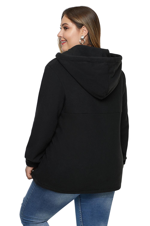 黑色长袖别致口袋拉链衣领大码抽绳连帽衫 LC252866
