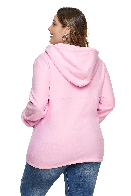 粉色长袖别致口袋拉链衣领大码抽绳连帽衫 LC252866