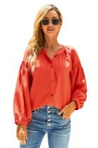 橙色开衩领口抽褶细节长袖柔软舒适衬衣