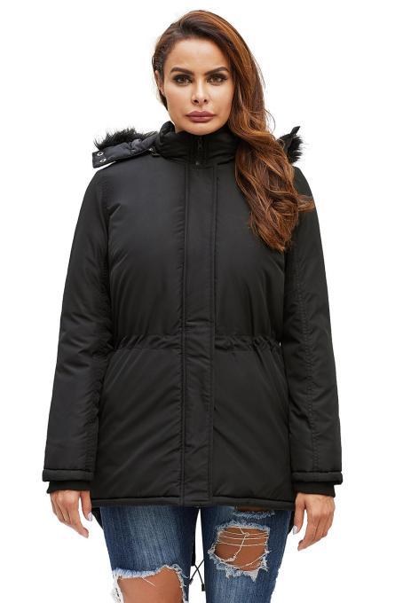 黑色拉链纽扣门襟舒适保暖连帽派克大衣