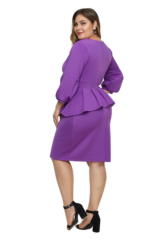 紫色喇叭袖大码荷叶边连衣裙 LC220899