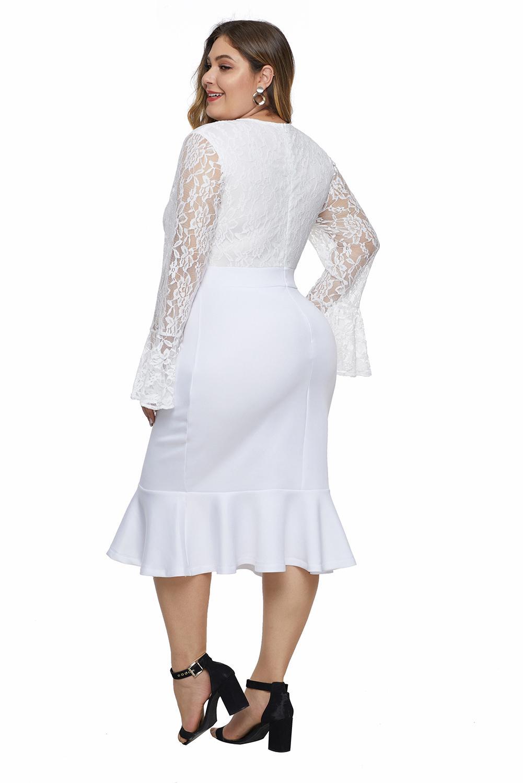 白色蕾丝胸衣喇叭袖荷叶边下摆大码连衣裙 LC611450