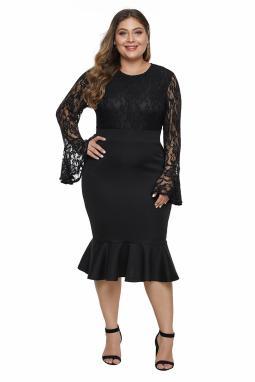 黑色蕾丝胸衣喇叭袖荷叶边下摆大码连衣裙