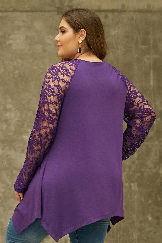紫色蕾丝设计飘逸手帕式下摆宽松大码上衣 LC252432