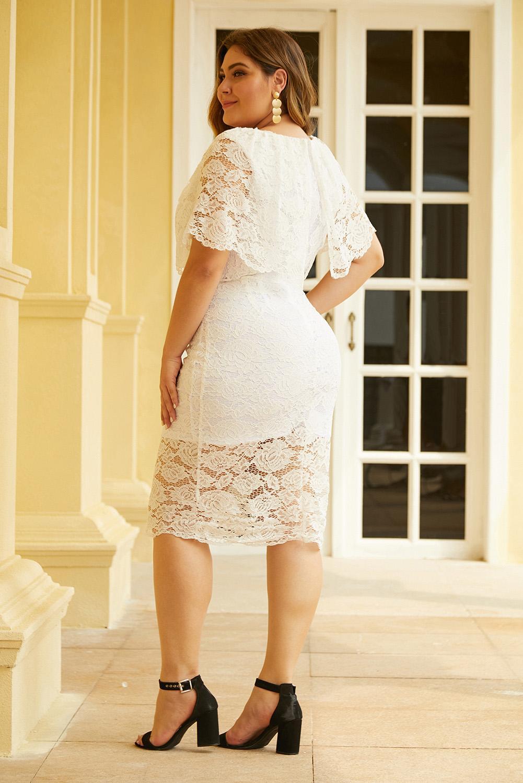 白色短袖大码迷人蕾丝覆层连衣裙 LC611468