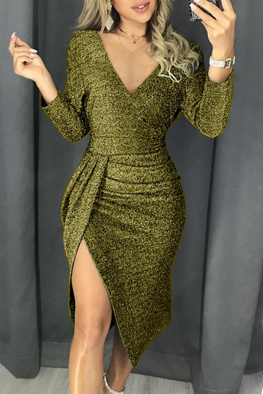 绿色闪耀皱褶大腿开叉派对金属丝连衣裙 LC221114