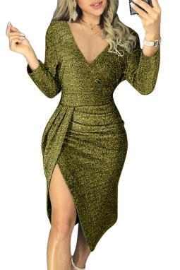 绿色闪耀皱褶大腿开叉派对金属丝连衣裙