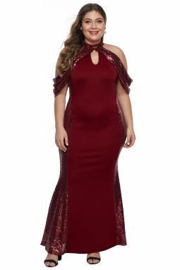 红色高领露肩亮片拼接设计时尚大码礼服