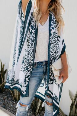 白色精美印花轻巧透气和服式海滩罩衫