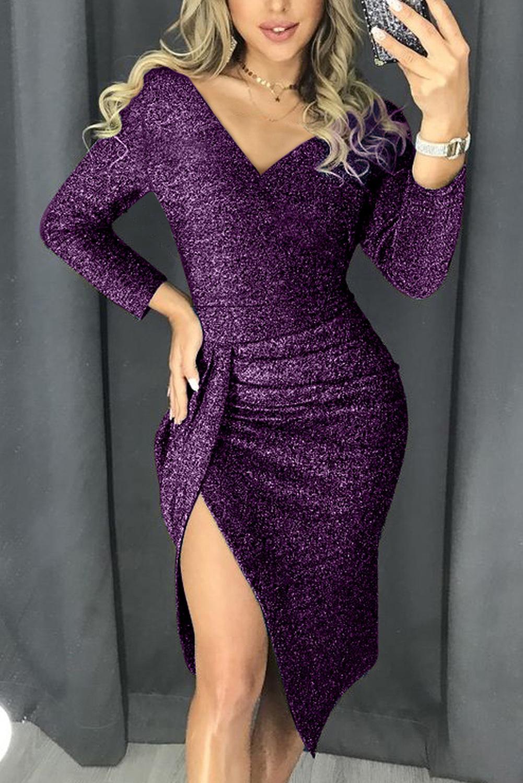 紫色闪耀皱褶大腿开叉派对金属丝连衣裙 LC221114