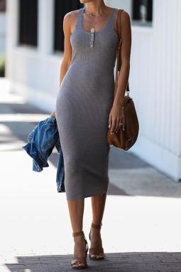 灰色夏季无袖Y字背罗纹针织中长连衣裙