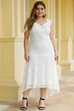 白色不对称荷叶边肩部设计加大码蕾丝连衣裙