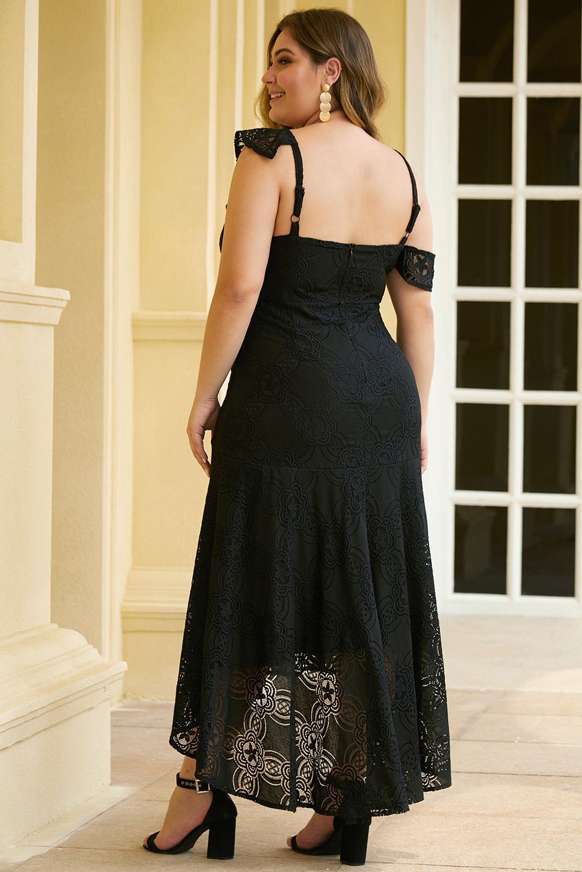 黑色不对称荷叶边肩部设计加大码蕾丝连衣裙 LC611311