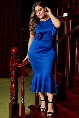 蓝色圆领优雅荷叶边设计加大码派对社交连衣裙