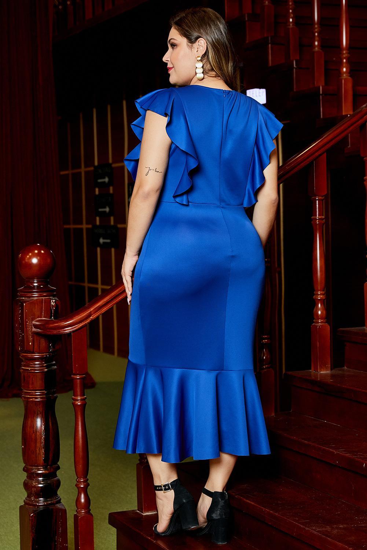 蓝色圆领优雅荷叶边设计加大码派对社交连衣裙 LC611455