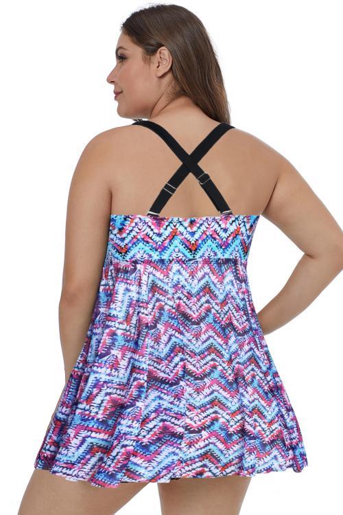 紫色大码无袖可调节肩带裙式单件泳衣 LC410917