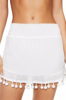 白色流苏绒球荷叶边沙滩裙