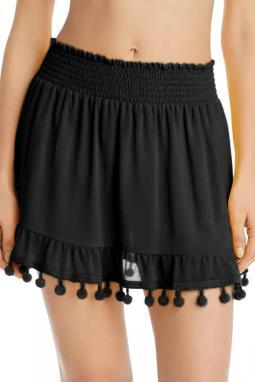 黑色流苏绒球荷叶边沙滩裙
