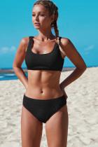黑色背心式运动中腰两件套泳装