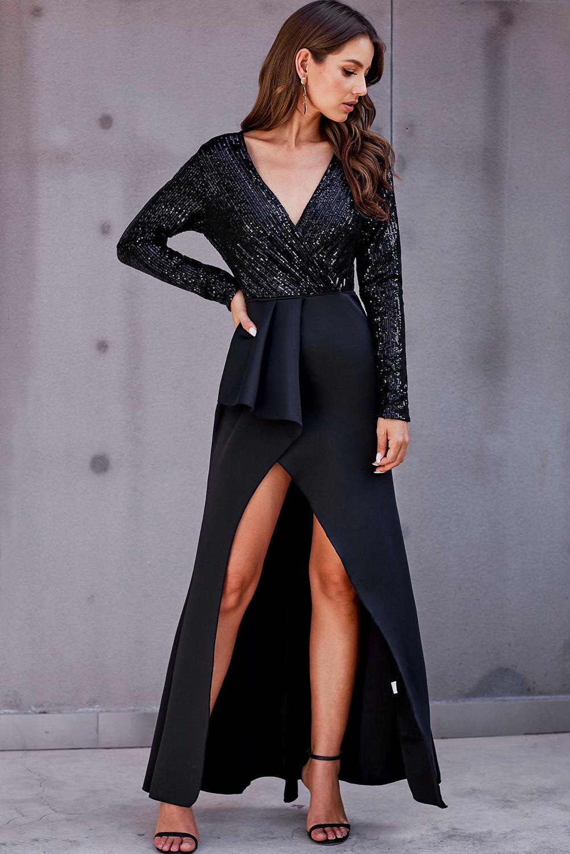 黑色长袖包裹V领亮片高位开衩长款晚礼服 LC611539