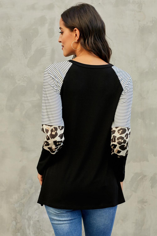 黑色条纹豹纹拼接长袖圆领上衣 LC252924