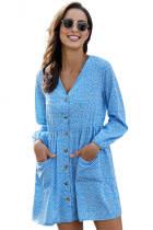 天蓝色时尚印花V领长袖纽扣衬衫式连衣裙