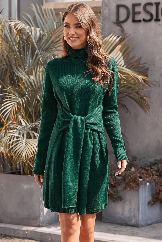 绿色绑带设计长袖高领套头毛衣连衣裙 LC270199