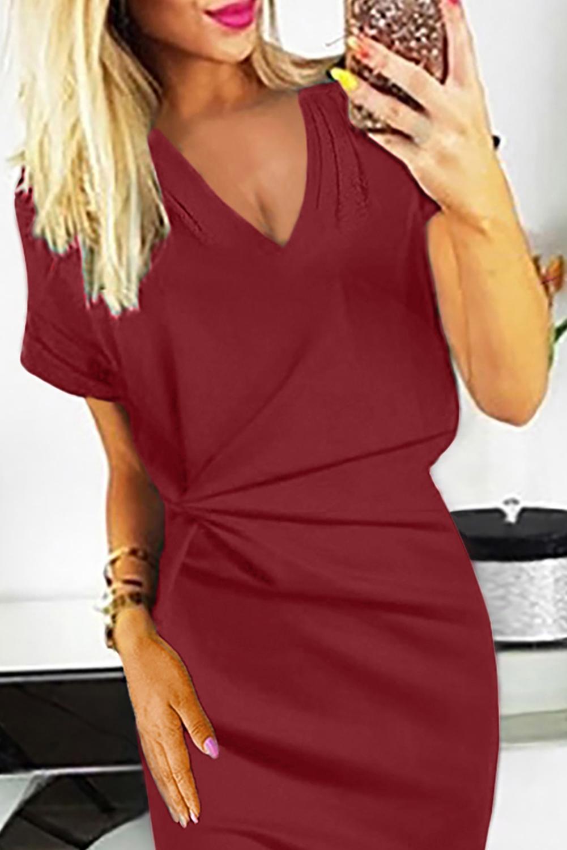 红色V领短袖别致褶皱修身连衣裙 LC611641