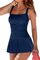 蓝色褶皱软垫撑高裙式连体泳装