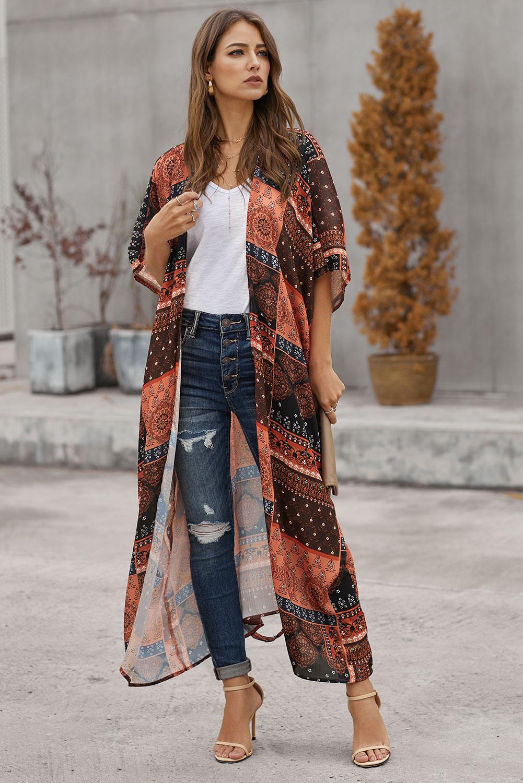 醒目色块波西米亚风印花休闲和服罩衫 LC85456