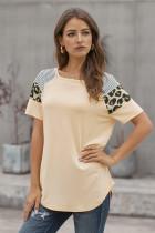 米黄色拼接条纹豹纹短袖女士T恤