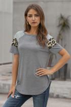 灰色拼接条纹豹纹短袖女士T恤