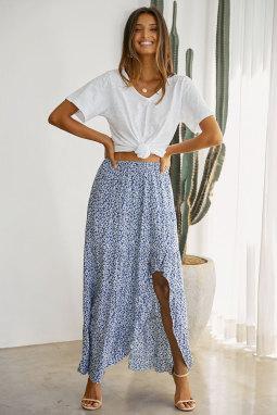 天蓝色印花高低荷叶边下摆中长款半身裙