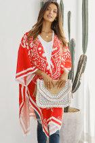 红色精美印花轻巧透气和服式海滩罩衫